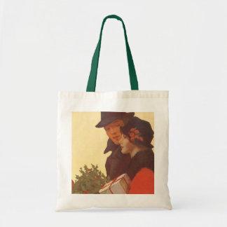 Vintage Christmas, Love and Romance Gift Shopping Tote Bag