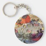 Vintage Christmas, Love and Romance Keychain