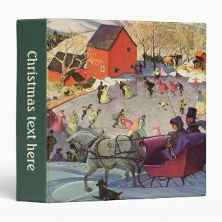 Vintage Christmas, Love and Romance Sleigh Vinyl Binder