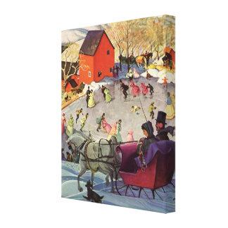 Vintage Christmas, Love and Romance Sleigh Canvas Print