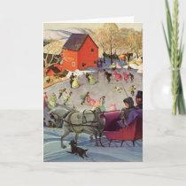 Vintage Christmas, Love and Romance Sleigh Holiday Card