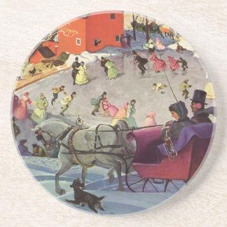Vintage Christmas, Love and Romance Sleigh Sandstone Coaster