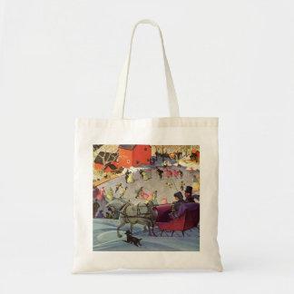 Vintage Christmas, Love and Romance Sleigh Tote Bag