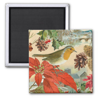 Vintage Christmas magnet w/ bird and flowers