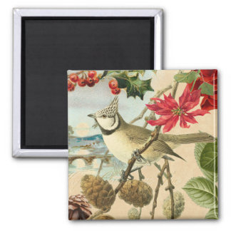 Vintage Christmas magnet w/ bird and red flower