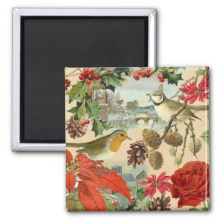 Vintage Christmas magnet w/ birds and red flowers