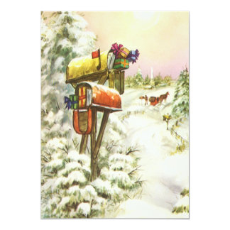 Vintage Christmas, Mailboxes in Winter Invitation