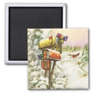 Vintage Christmas, Mailboxes in Winter Landscape 2 Inch Square Magnet