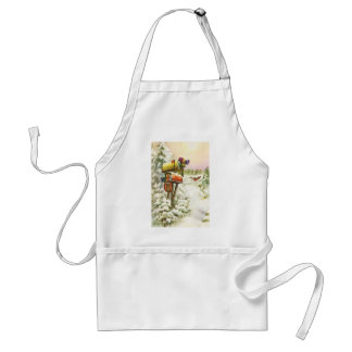 Vintage Christmas, Mailboxes in Winter Landscape Adult Apron