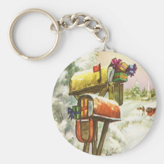 Vintage Christmas, Mailboxes in Winter Landscape Basic Round Button Keychain