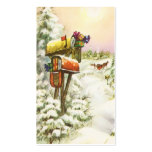 Vintage Christmas, Mailboxes in Winter Landscape Business Card Templates