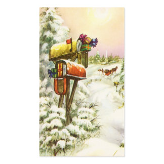 Vintage Christmas, Mailboxes in Winter Landscape Double-Sided Standard Business Cards (Pack Of 100)