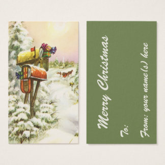 Vintage Christmas, Mailboxes in Winter Landscape Business Card