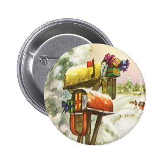 Vintage Christmas, Mailboxes in Winter Landscape 2 Inch Round Button