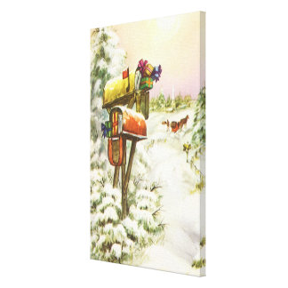 Vintage Christmas, Mailboxes in Winter Landscape Canvas Print