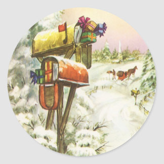 Vintage Christmas, Mailboxes in Winter Landscape Classic Round Sticker