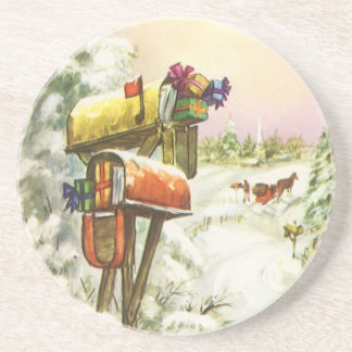 Vintage Christmas, Mailboxes in Winter Landscape Coaster