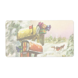 Vintage Christmas, Mailboxes in Winter Landscape Label