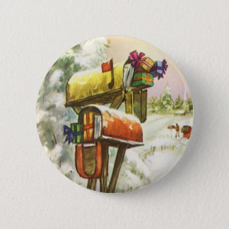 Vintage Christmas, Mailboxes in Winter Landscape Pinback Button