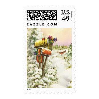 Vintage Christmas, Mailboxes in Winter Landscape Postage Stamp