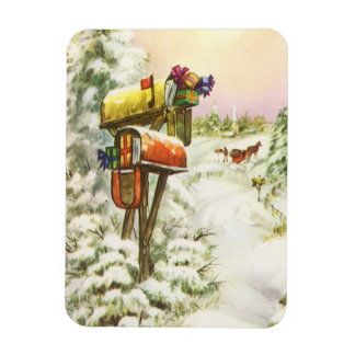 Vintage Christmas, Mailboxes in Winter Landscape Rectangular Photo Magnet