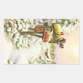 Vintage Christmas, Mailboxes in Winter Landscape Rectangular Sticker
