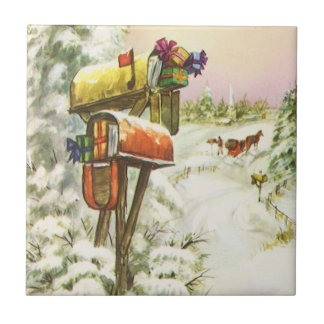 Vintage Christmas Mailboxes in Winter Landscape Tiles