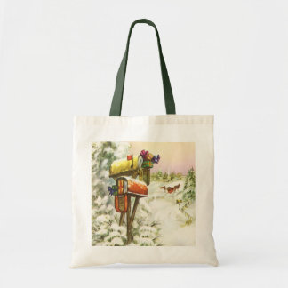 Vintage Christmas, Mailboxes in Winter Landscape Tote Bag
