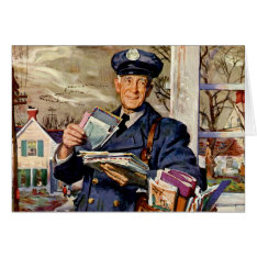 Vintage Christmas, Mailman Delivering Mail Letters Card at Zazzle