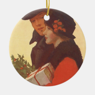 Vintage Christmas, Man and Woman Gift Shopping Ceramic Ornament