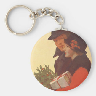 Vintage Christmas, Man and Woman Gift Shopping Keychain