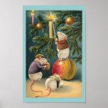 Vintage Christmas Mice Poster