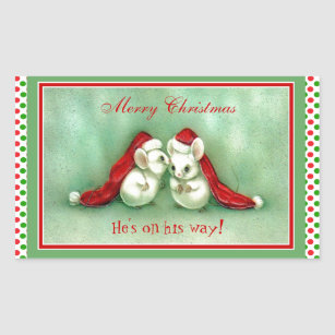 vintage christmas mice with red santa hats rectangular sticker - Vintage Christmas Gifts