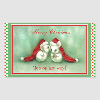 Vintage Christmas Mice with Red Santa Hats Rectangular Sticker