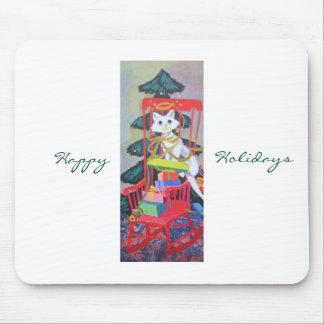 Vintage Christmas Mid Century Pastel Kitten Mouse Pad