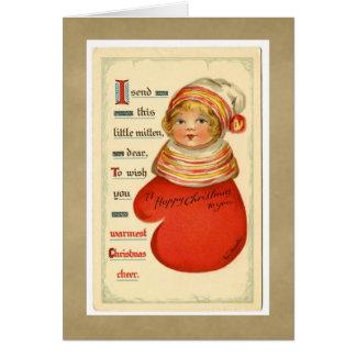 Vintage Christmas Mitten Girl Greeting Card