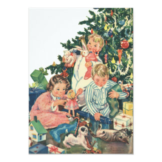 Vintage Christmas Morning, Children Opening Gifts Card