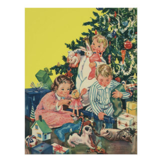 Vintage Christmas Morning, Children Opening Gifts Poster