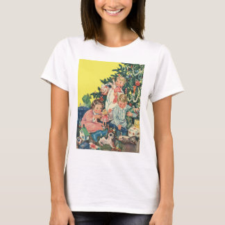 Vintage Christmas Morning, Children Opening Gifts T-Shirt