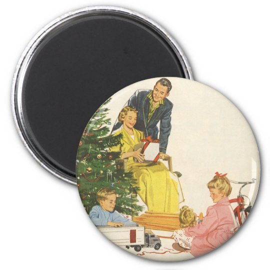 Vintage Christmas Morning, Family Opening Presents Magnet