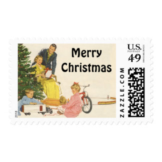 Vintage Christmas Morning, Family Opening Presents Postage