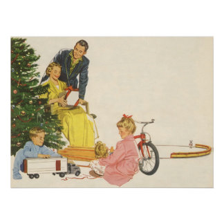 Vintage Christmas Morning, Family Opening Presents Poster