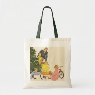 Vintage Christmas Morning, Family Opening Presents Tote Bag