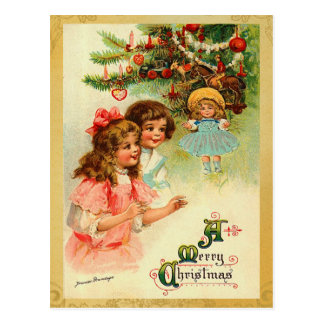 Vintage Christmas Morning Postcard