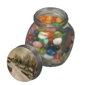 Vintage Christmas Morning Sleigh Ride Glass Jars