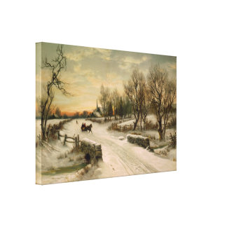 Vintage Christmas Morning Sleigh Ride Canvas Print