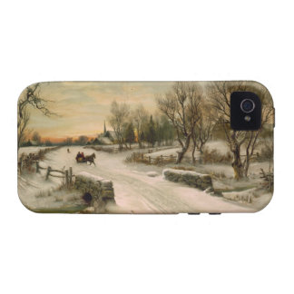 Vintage Christmas Morning Sleigh Ride iPhone 4/4S Cover