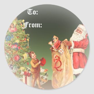 Vintage Christmas Morning Round Sticker
