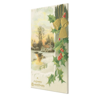 Vintage Christmas Morning Winter Scenery Canvas Print