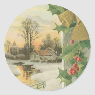 Vintage Christmas Morning Winter Scenery Classic Round Sticker